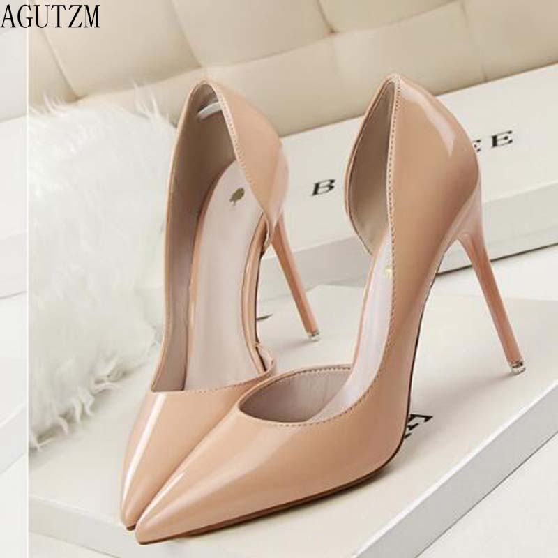 AGUTZM Women shoes 2018 fashion delicate sweet <font><b>high</b></font> <font><b>heel</b></font> shoes side hollow pointed women pumps <font><b>heel</b></font> is <font><b>12</b></font> <font><b>cm</b></font> <font><b>high</b></font> v269 image