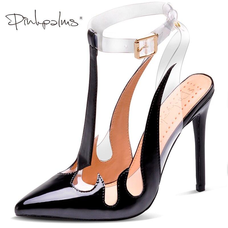 Różowy Palms buty marki kobiety sandały Trend sandały z pcw przezroczyste wysokie obcasy szpiczasty buty z palcami bez pięty u kobiet pompy w Wysokie obcasy od Buty na  Grupa 1
