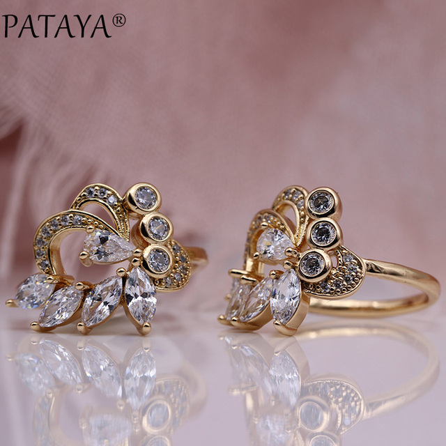 PATAYA New Women Hyperbole Wedding Rings 585 Rose Gold Water Drop White Natural Zircon Party Fashion Jewelry Horse Eye Fine Ring