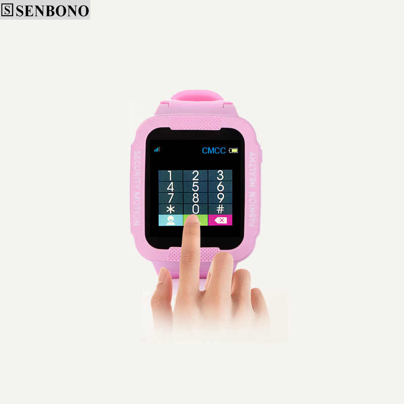 SENBONO kids GPS smart watch with camera 2.5D Touch screen whatsapp waterproof children watch GPS tracker SOS Location Devicer