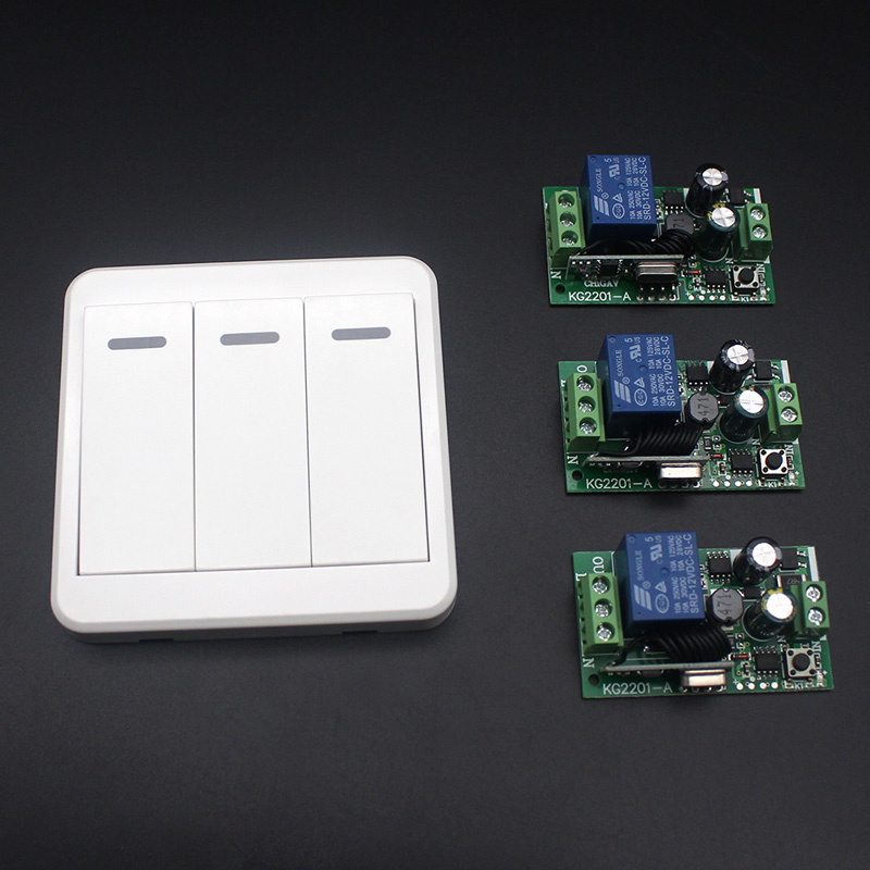 110V 220V 3 Channel Wireless Light Switch Kits with 86 Wall Panel Transmitter Remote For Home Room Stairway Light Lamp Bulb LED