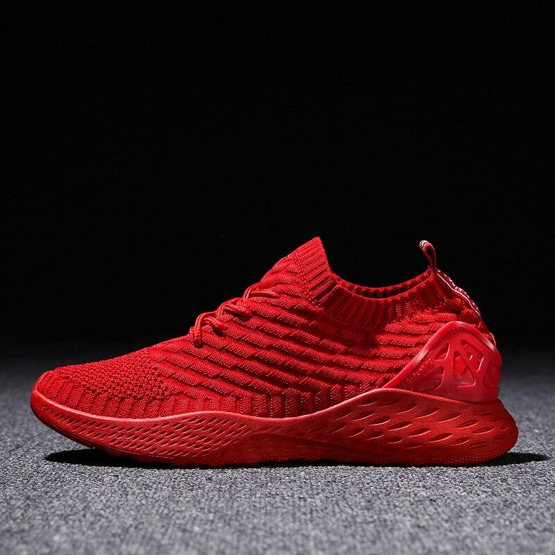 Respirant Hommes Sneakers Homme Chaussures Adulte Rouge Noir Gris Haute Qualité Confortable Non-slip Doux Maille Hommes Chaussures 2018 été Nouveau