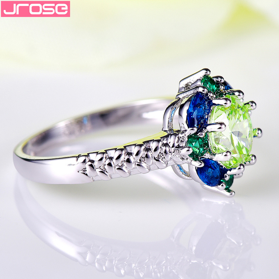 JROSE Venta al por mayor Hot Engagement Round Cut Blue & Green CZ - Bisutería - foto 5