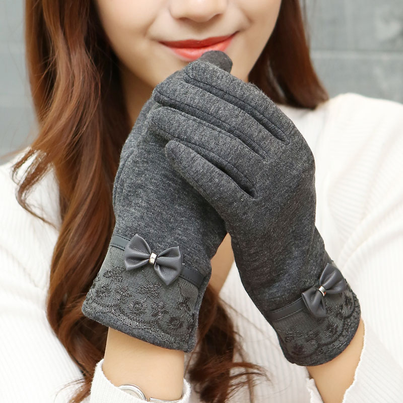 2016 Fashion PU Leather Lace Bow Women font b Winter b font font b Gloves b