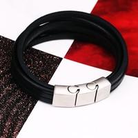 Genuine Leather Simple Men Bracelet Wrap Wristband For Men Classic Bracelet Men Bangle Jewelry