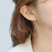 DreamySky 100% Real 925 Sterling Silver Statement Jewelry Korean Line Tassel Earrings For Women Gift Joyas Pendientes Brincos