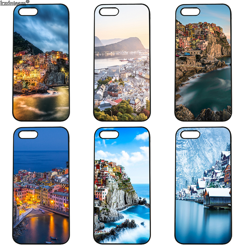 Beautiful Mountain Town Mobile Phone Case Hard PC Cover Fitted for iphone 8 7 6 6S Plus X 5S 5C 5 SE 4 4S iPod Touch 4 5 6 Shell