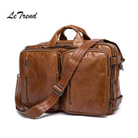 LeTrend Vintage Men Genuine Leather Travel Bag Men's Handbag Multifunction Shoulder Bags Luxury Cabin Luggage Retro Backpack