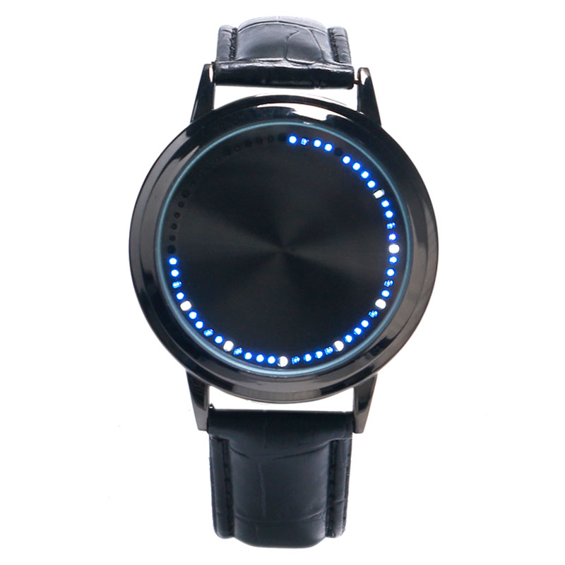 Men Women Touch Screen LED Black Watch Leather Simple Sports Wrist Watch Digital Blue Light Quartz Watch Free Shipping stylish touch screen blue led wrist watch black 2 x cr2016