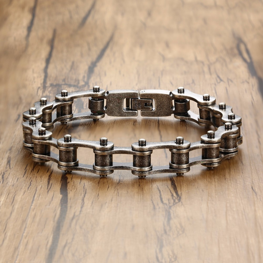Mens Bike Chain Bracelet in Stainless Steel Oxidized Gray Bicycle Link Bangle Male Jewelry Pulseira Braslet 9