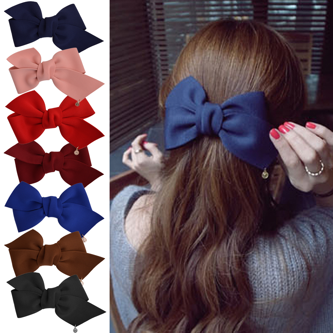 Fashion Girl Headwear Ribbon Bow Hair Clips For Women Hairpins Bowknot Barrette Hairclips Clips Bow Hairdresser Hair Accessories