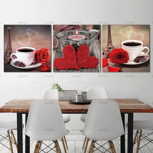 Canvas Painting Wall Picture Living Room 3 Panel Printed Classical Still Life Coffee Rose Kitchen Oil Cuadros No Frame