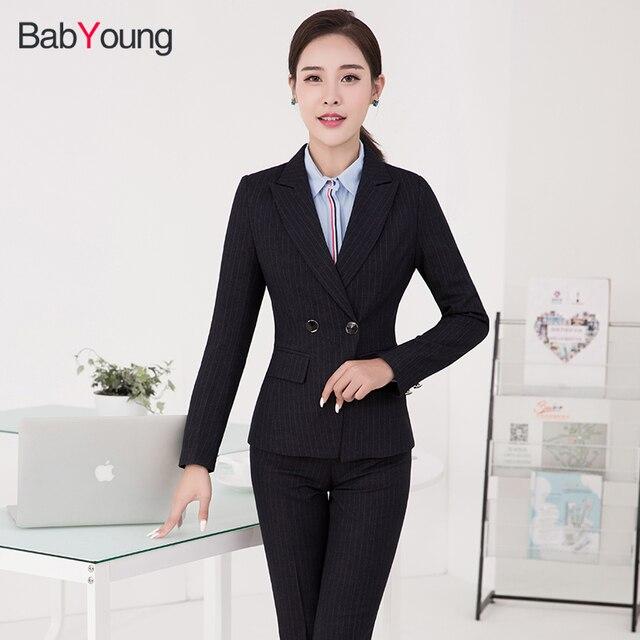 Babyoung Pants Suit Women Office Ladies Pants Suits Set High Quality