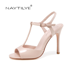 Summer 2017 Woman Shoes PU ECO patent Leather High heels sandals for woman Beige Black thin heel 36-41 Free shipping NAYTILYE