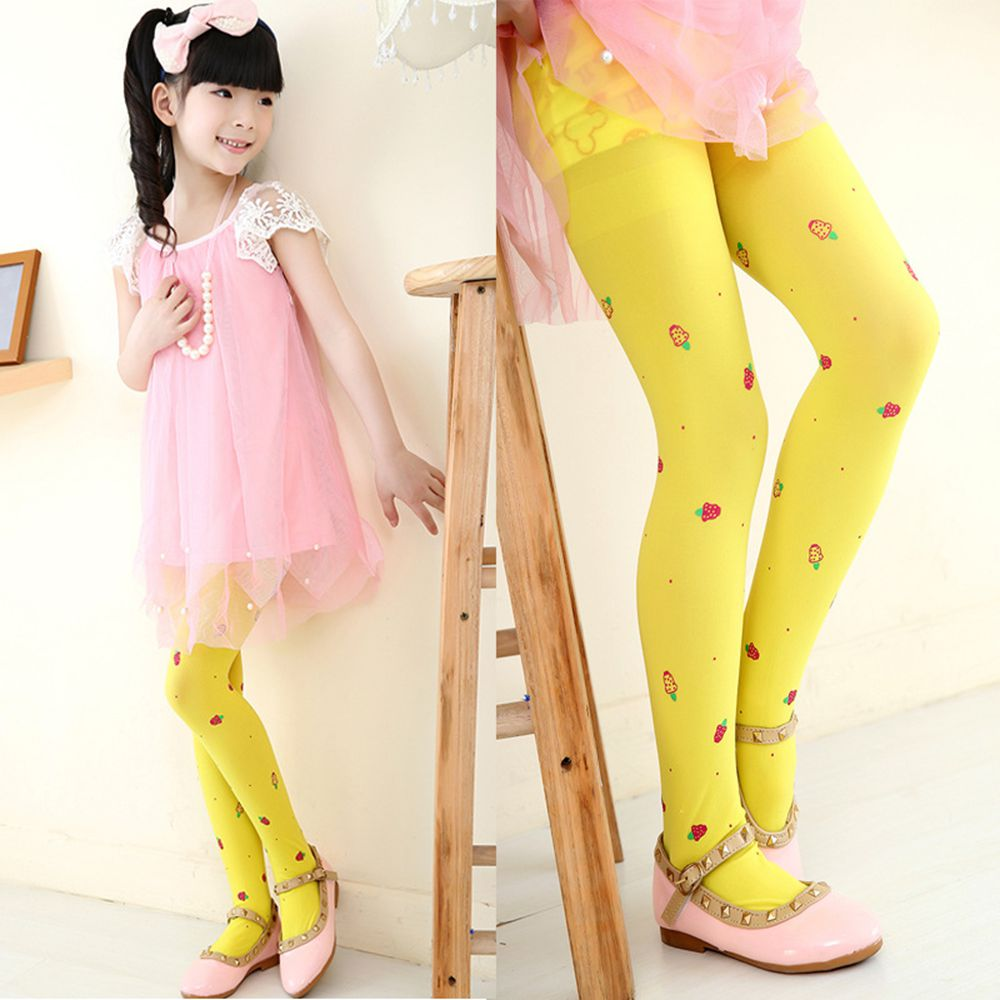 2-14Y Girls Leggings Kids Spring Summer Autumn Print Leggings High Elasticity Pinky Color Full Length Girls Dance Stockings
