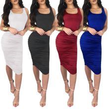 S-2XL women night evening party dress casual leisure brand vest pure color summer