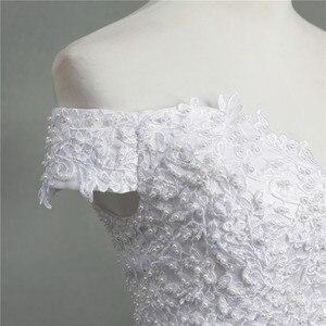 Image 5 - ZJ9145 2019 yeni Beyaz Fildişi Zarif Balo Elbisesi Kapalı Omuz Gelinlik gelinler için Dantel sevgiliye dantel kenar Artı boyutu