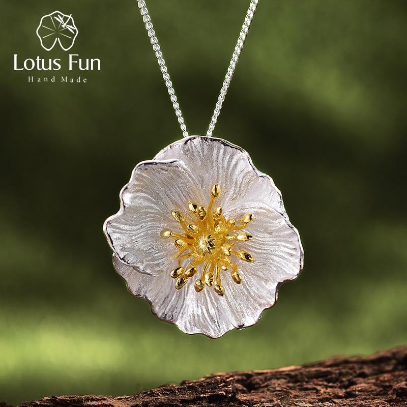Lotus Fun réel 925 en argent Sterling fait à la main de beaux bijoux en or 18K floraison coquelicots fleur pendentif sans collier pour les femmes