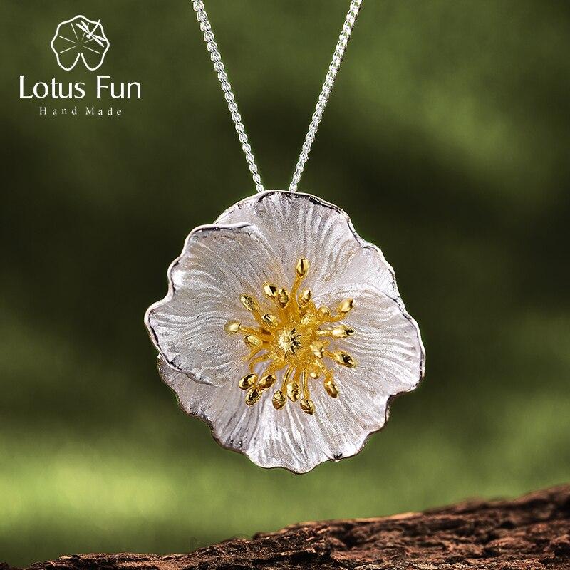 Lotus zabawy prawdziwe 925 Sterling Silver Handmade Fine Jewelry 18K złota kwitnące maki wisiorek kwiat bez naszyjnik dla kobiet