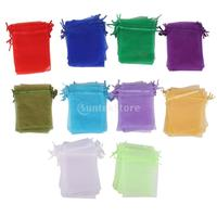 100pcs Assorted Colors Organza Bag Wedding Gift Bag 10x12cm Free Shipping