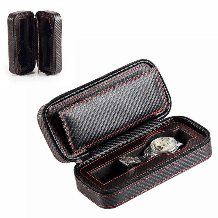 Uhrenzubehör Neue Carbon Faser 2/8 Tragbare Zipper Uhr Taschenuhr Lagerung Tasche Schmuck Tasche Reise Sammlung Requisiten Männer Damen Uhr Box Uhrenboxen