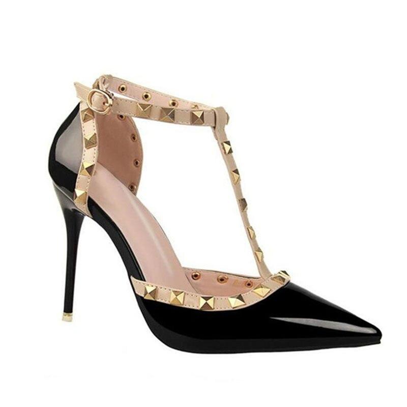 QSR 10CM PUMPS Woman Summer Women's Shoes Fashion Female Sandals Rivet Metal Decoration Pu Leather Women High Heels