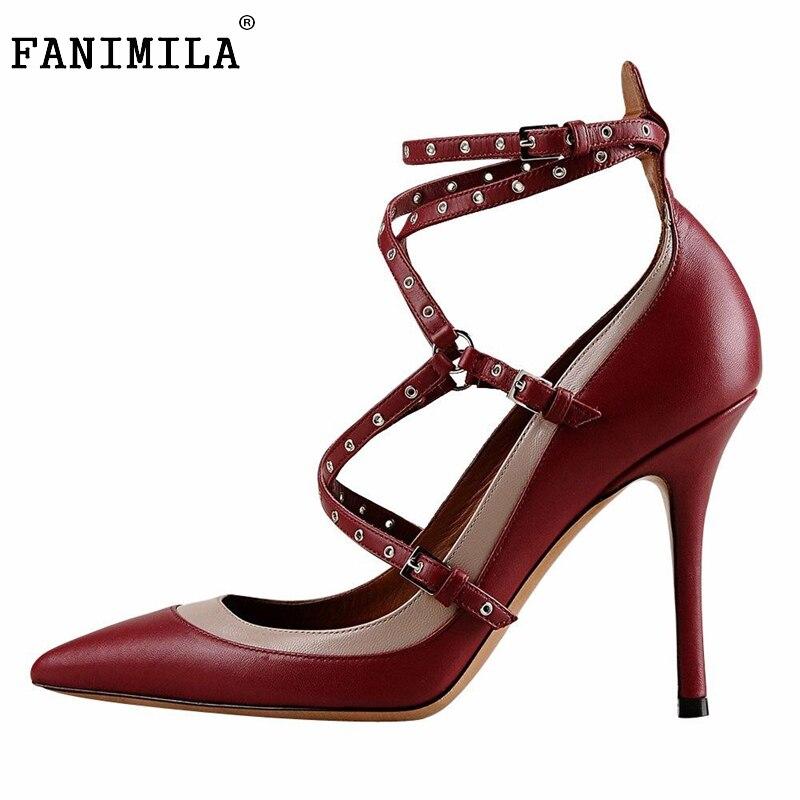 ФОТО Women High Heel Shoes Lady Cross Strap Rivets Pointed Toe Heels Pumps Fashion Buckle Brand Dress Heeled Footwear Size 35-46 B255