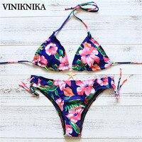 VINIKNIKA 2017 Sub System Rope Printing Bikini Europe Hollow Sexy Swimwear Summer Women Bikini Suit Push