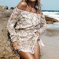 Yomay Лето Сексуальная с плеча блесток кисточкой dress Женщины спинки beach party короткие старинные Пляж Мини dress vestidos Плюс размер