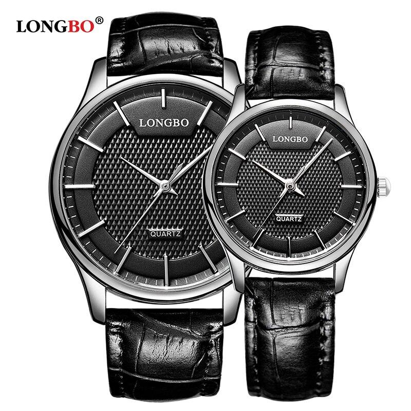 LONGBO Reloj Mujer Hombre Fashion Couple Watch Luxury Leather Men Women Watches Casual Waterproof Lovers Quartz Wristwatch 80301