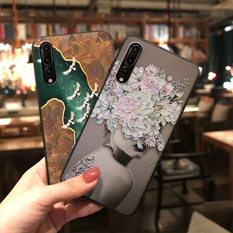 3D Emboss TPU Case For Huawei P40 Lite P30 P20 P10 Honor 8X 9X Mate 20 10 Lite Pro Y6 Y7 Y9 P Smart Z 2019 Flowers Relief Fundas(China)