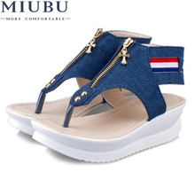 MIUBU 3cm platform open toes Flat Sandals Women New Summer Womens Sandal shoes woman sandals Female Shoes 103