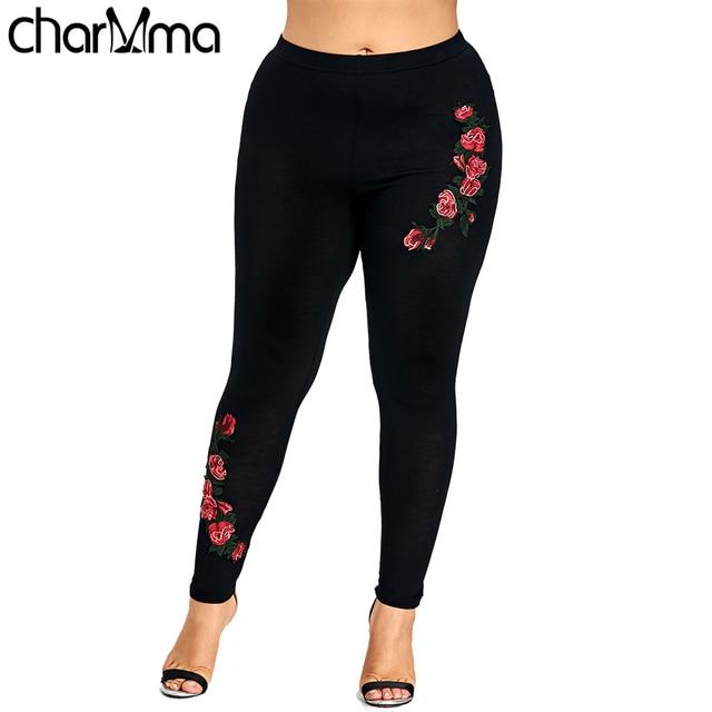 b43176e6147fa Talla grande bordado Floral Leggings Mujer Pantalones Leggins Skinny  elástico Fitness Jeggings lápiz pantalones Fitness Capri