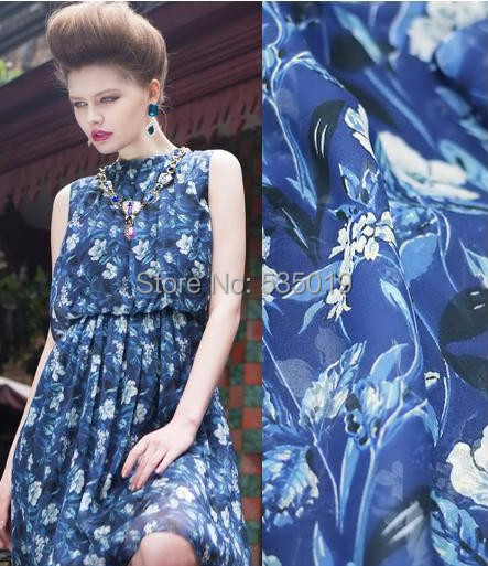 High quality blue and white porcelain Print  New French Lace Tull Chiffon Fabric For Sewing Material Curtains Dress Silk Fabric