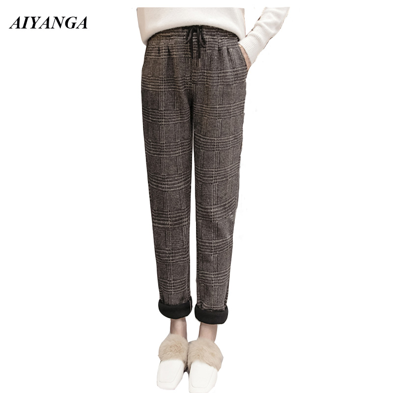 2018 Winter Pants For Women Woolen Pants Female Thick Fleece Warm Trousers Women Casual Elastic Waist Plaid Harem Pant Ladies