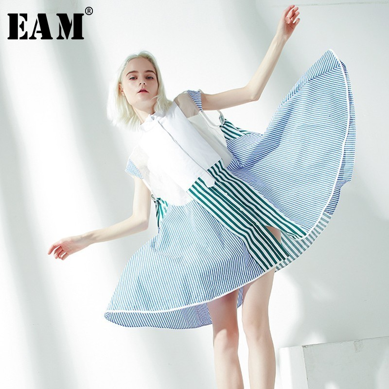 [EAM] 2020 New Spring Summer Stand Collar Sleevees Blue Striped Split Joint Organza Big Size Shirt Dress Women Fashion JS518
