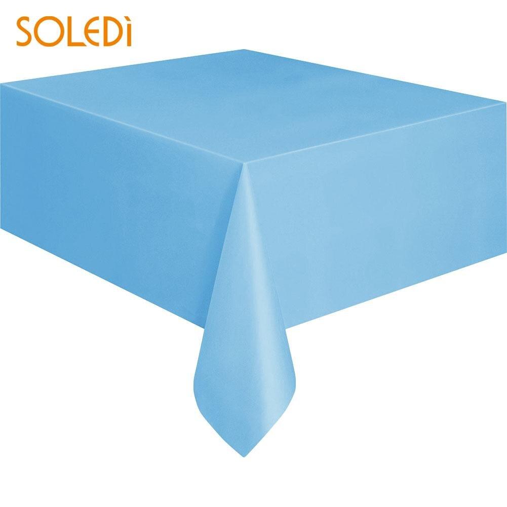 SOLEDI 20 цветов мягкий настольный бегун скатерть пластиковые товары для дома одноразовая скатерть для стола украшение стола - Цвет: light blue