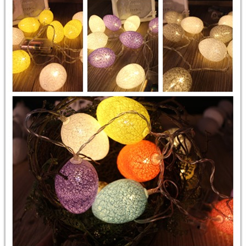 Holiday Lights 5m Ball LED Cotton Light String Battery Christmas Easter Egg Party Decoration Light String