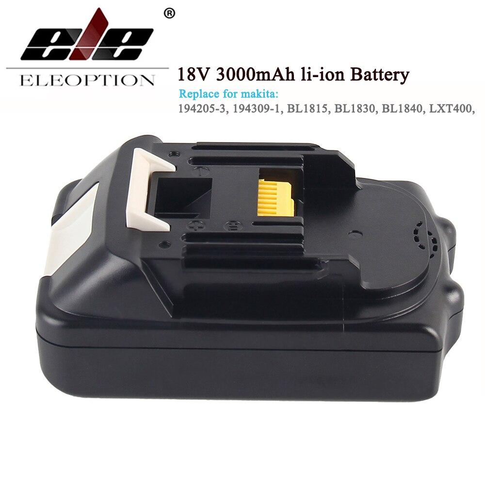 ELEOPTION For Makita BL1830 18V Battery 3000mAh Rechargeable Lithium-ion Li-ion Power Tools Batteries for Makita BL1835 BL1815 2pcs set 18v 3000mah li ion replacement battery lithium ion power tools batteries rechargeable battery for makita bl1830
