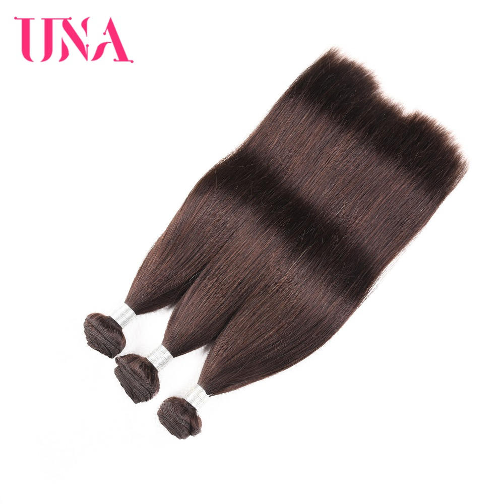 UNA Brazilian Hair Weaves 3 Bundles Deal Straight Hair Weave - Menneskehår (sort)