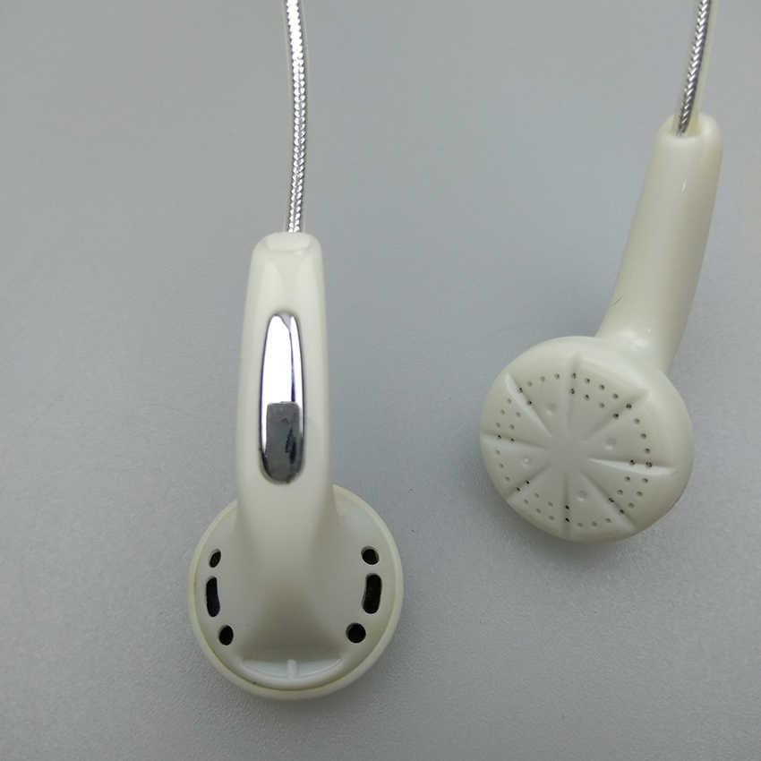 Z łbem płaskim słuchawki 3.5mm ryż biały 80 CM krótki zestaw słuchawkowy bez mikrofonu jednorazowe słuchawki douszne