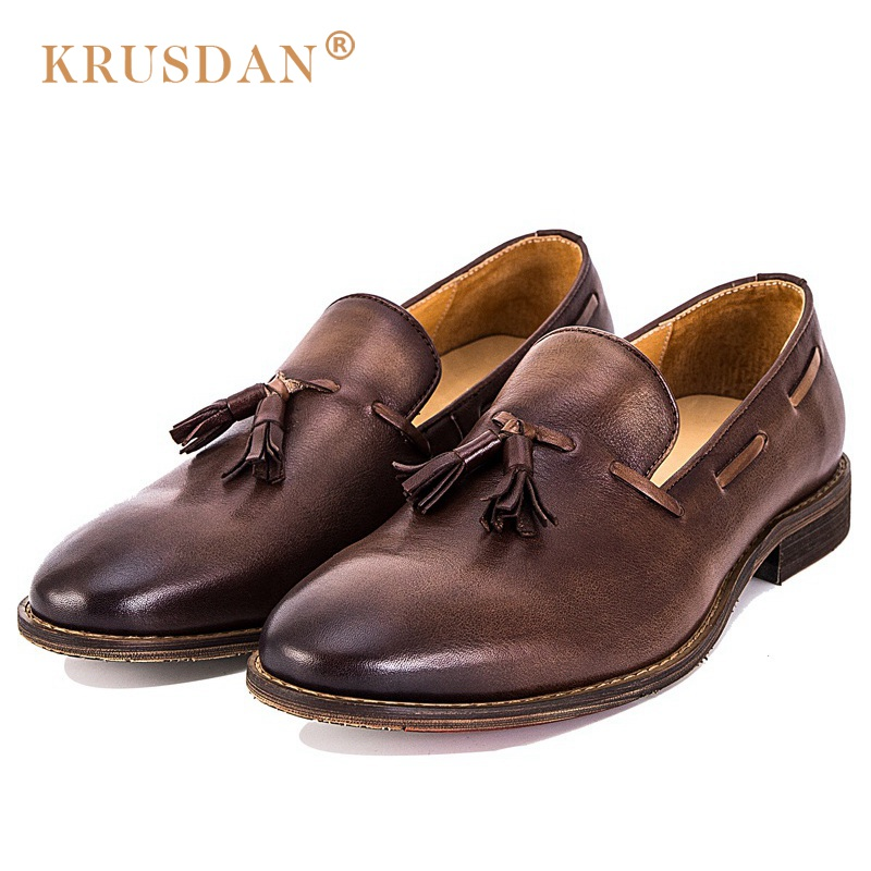 KRUSDAN Fashion Tassel Man Casual Shoes British Genuine Leather Handmade Loafers Round Toe Slip on Men's Comfortable Flats ltaly luxury brand men s handmade custom size casual loafers patent genuine leather tassel round toe driving flats shoes for man