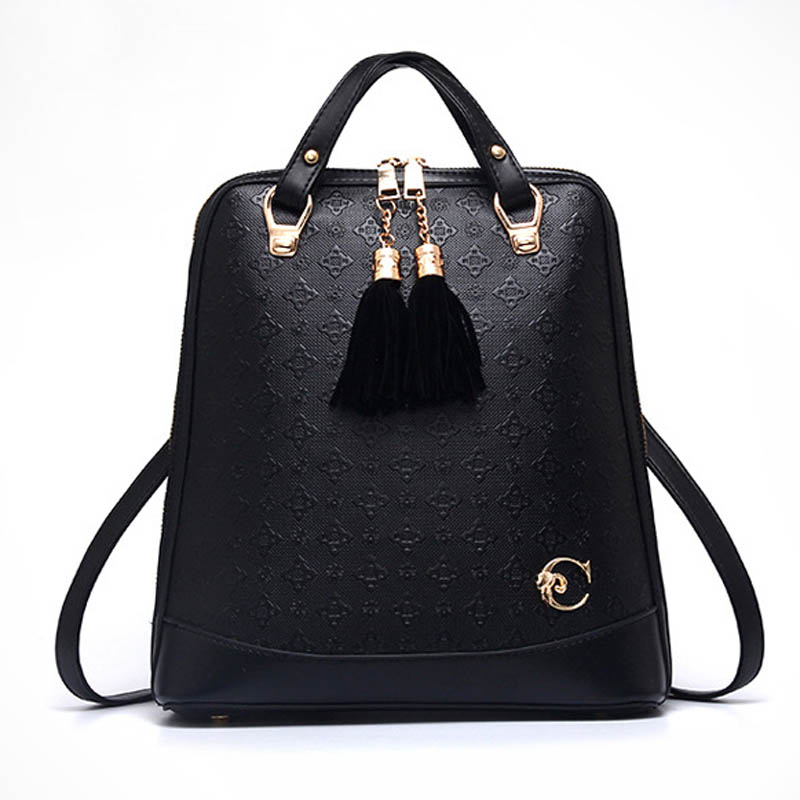 New Fashion Upscale PU leather Embossed Flower pattern female Backpacks Women s Bag Female Leather Shoulders