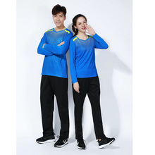 Мужские и женские костюмы для бадминтона на осень и зиму, быстросохнущие футболки с длинными рукавами, брюки, теннисные костюмы для настольного тенниса