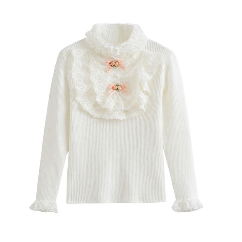 2T do 7T djeca djevojke bib-prednje čipke prugasta pletena pulover - Dječja odjeća