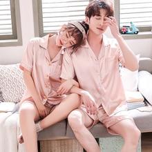 Pajamas Women Summer 2019 new Sexy satin pyjama  couple pijama mujer Lapel Shirt Shorts 2 pcs Lovers Pajamas Solid plus Size 3xl