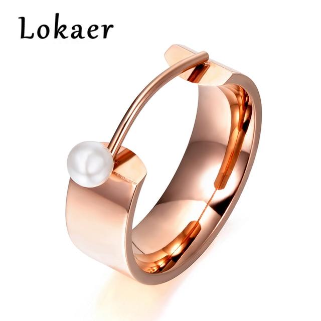 Lokaer Original Design Simulated Pearl Rose Gold Color Ring Jewelry Titanium Ste