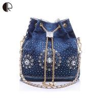 Women Denim Purse Rhinestone Bag With Chain Handle Shoulder Bag Women's Summer Beach Little Cluthes Handmade PU Bucket Bag