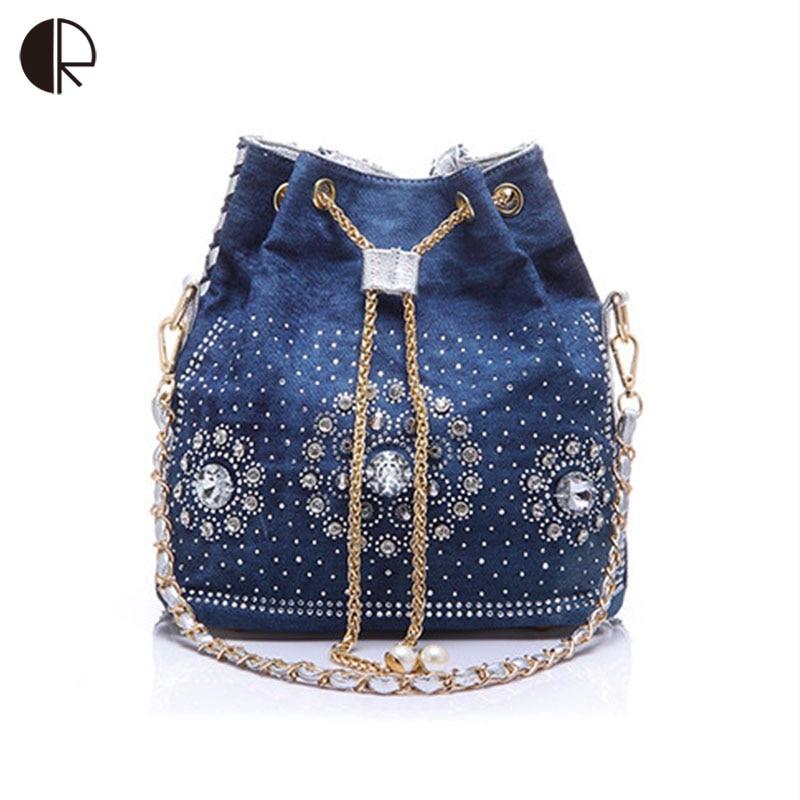women denim purse rhinestone bag with chain handle shoulder bag women's summer beach little cluthes handmade PU bucket bag все цены