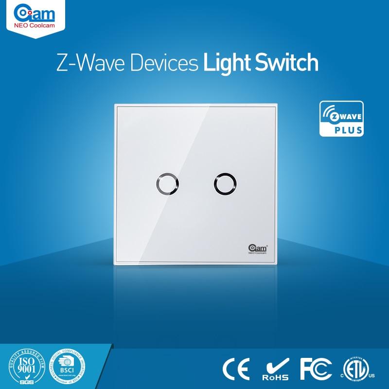 NEO Coolcam Maison Intelligente Z-wave 2CH L'UE Interrupteur Mural Capteur Compatible avec Z-vague 300 série et 500 série Domotique